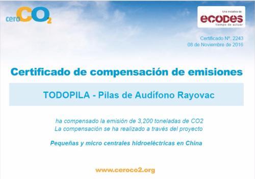 certificado ceroCO2 TodoPila